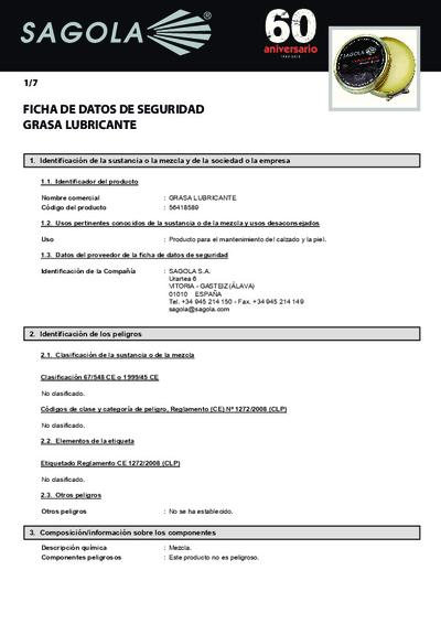 Ficha seguridad Grasa Lubricante