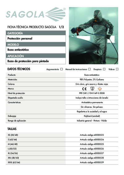 Ficha técnica Buzo Antiestático
