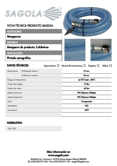 Ficha técnica Manguera producto Calderines
