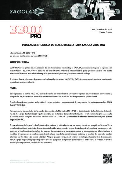 Prueba de eficiencia de transferencia Sagola 3300 PRO