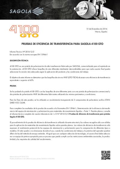 Prueba de eficiencia de transferencia Sagola 4100 GTO