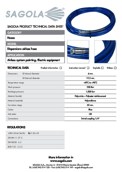 Technical data sheet Dispersions Airless hose