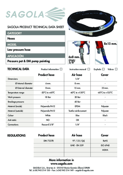 Technical data sheet Low Pressure hose