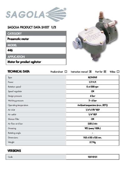 Technical data sheet Pneumatic motor 446
