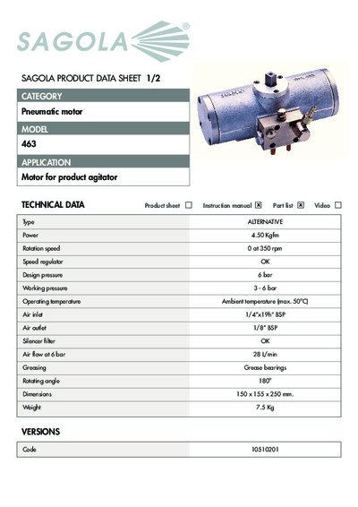 Technical data sheet Pneumatic motor 463