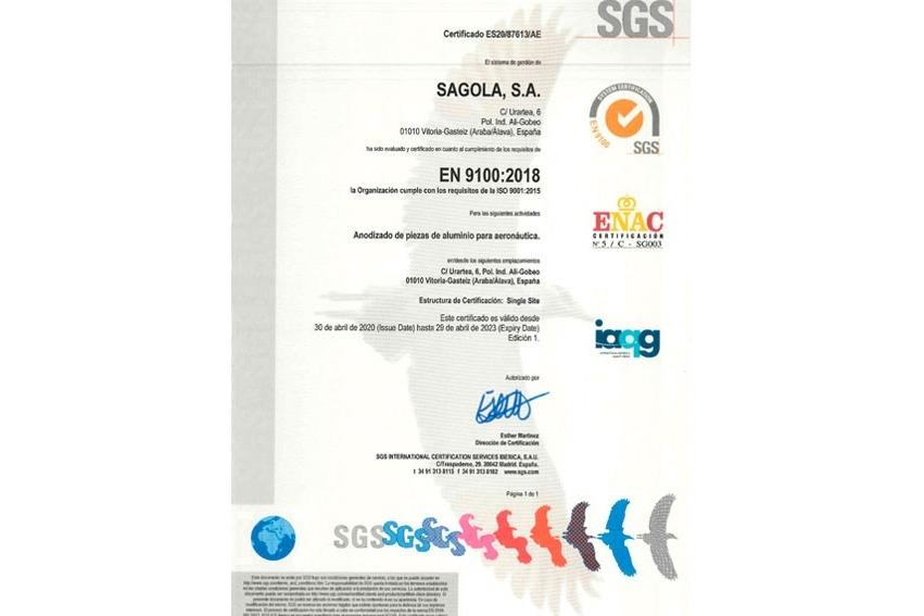 ISO 9100 for anodizing aluminum parts for aeronautics